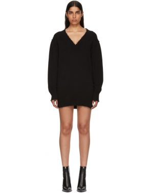photo Black Distressed V-Neck Sweater Dress by T by Alexander Wang - Image 1