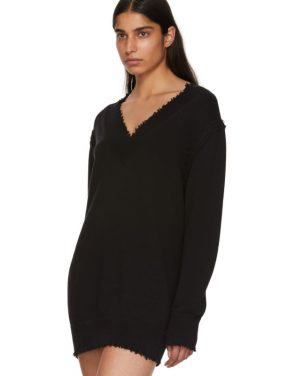 photo Black Distressed V-Neck Sweater Dress by T by Alexander Wang - Image 4