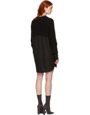 photo Black Hybrid Varsity Sweater Dress by T by Alexander Wang - Image 3