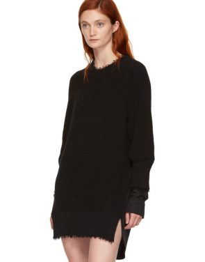photo Black Hybrid Varsity Sweater Dress by T by Alexander Wang - Image 4