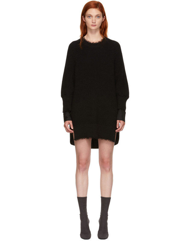 photo Black Hybrid Varsity Sweater Dress by T by Alexander Wang - Image 1