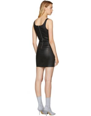 photo Black Stretch Leather Mini Dress by T by Alexander Wang - Image 3