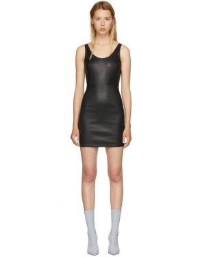 photo Black Stretch Leather Mini Dress by T by Alexander Wang - Image 1