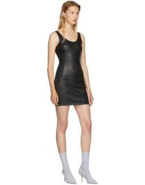 photo Black Stretch Leather Mini Dress by T by Alexander Wang - Image 5