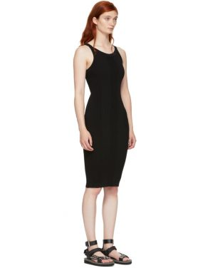 photo Black Stretch Rib Knit Visible Strap Dress by T by Alexander Wang - Image 2
