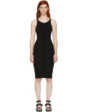 photo Black Stretch Rib Knit Visible Strap Dress by T by Alexander Wang - Image 1
