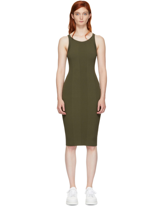 photo Green Visible Strap Dress by T by Alexander Wang - Image 1