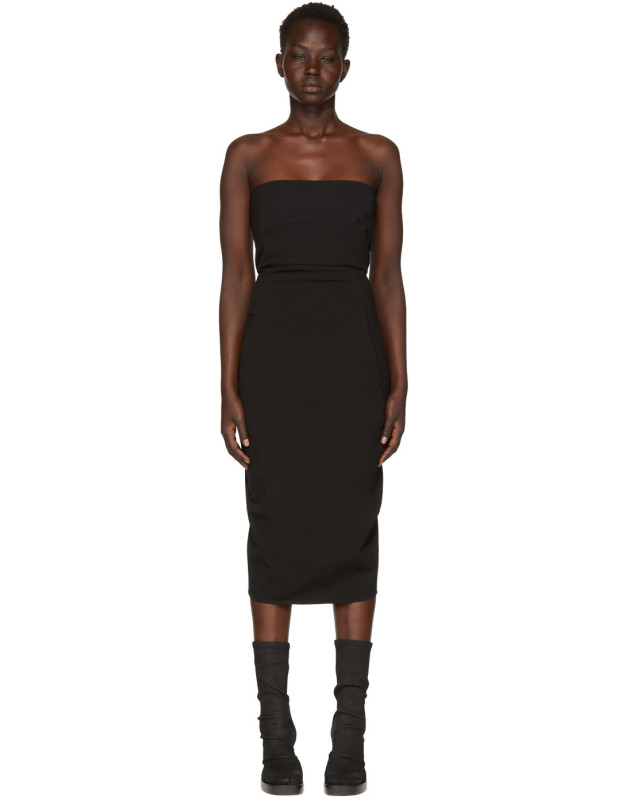 photo Black Grosgrain Bustier Dress by Rick Owens - Image 1