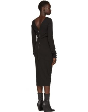 photo Black Grosgrain Maria Dress by Rick Owens - Image 3