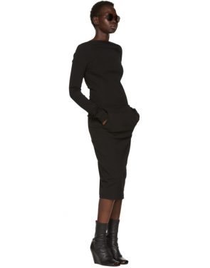 photo Black Grosgrain Maria Dress by Rick Owens - Image 5