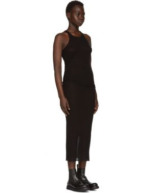 photo Black Basic Silk Rib Tank Dress by Rick Owens - Image 2