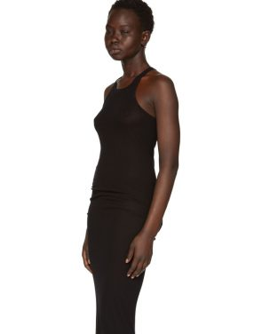 photo Black Basic Silk Rib Tank Dress by Rick Owens - Image 4