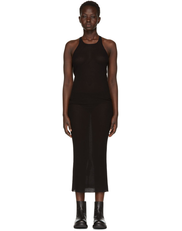 photo Black Basic Silk Rib Tank Dress by Rick Owens - Image 1