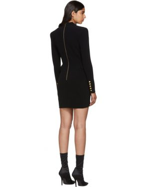 photo Black Cross-Over Six-Button Dress by Balmain - Image 3
