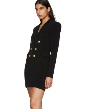 photo Black Cross-Over Six-Button Dress by Balmain - Image 4