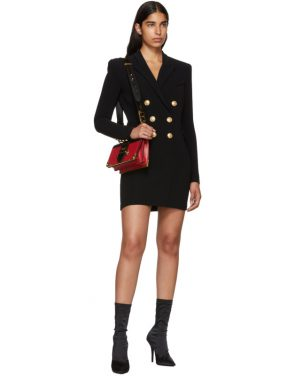 photo Black Cross-Over Six-Button Dress by Balmain - Image 5