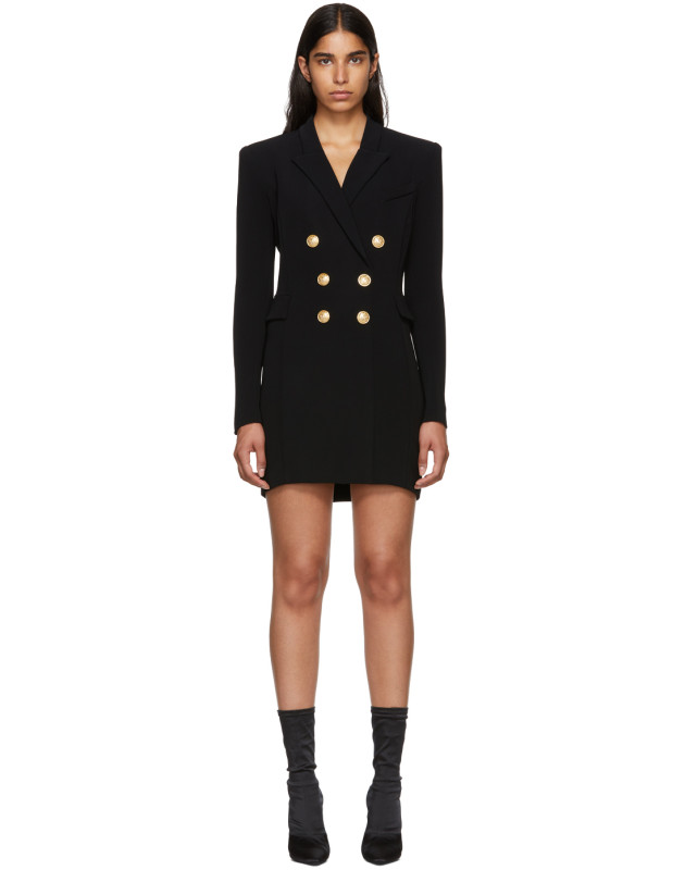 photo Black Cross-Over Six-Button Dress by Balmain - Image 1
