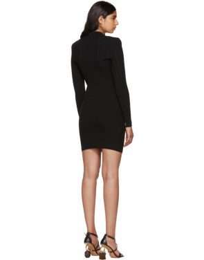photo Black Long Sleeve Wool Dress by Balmain - Image 3
