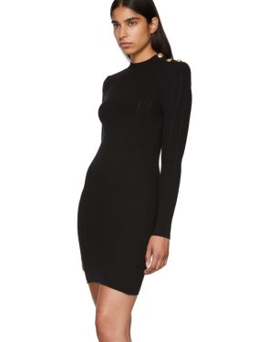 photo Black Long Sleeve Wool Dress by Balmain - Image 4