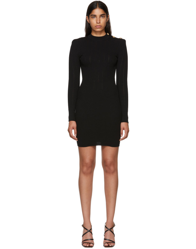 photo Black Long Sleeve Wool Dress by Balmain - Image 1