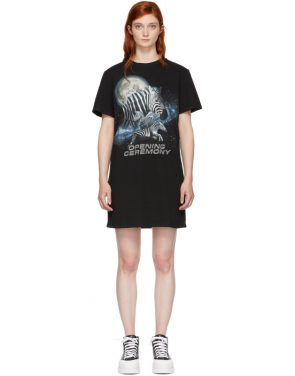 photo Black Cosmic Zebra T-Shirt Dress by Opening Ceremony - Image 1