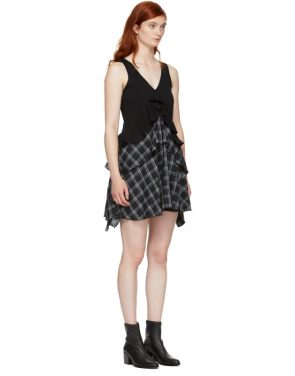 photo Black Plaid Mix Dress by Opening Ceremony - Image 2