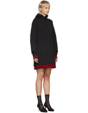 photo Black Elastic Logo Unisex Hoodie Dress by Opening Ceremony - Image 2