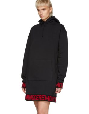 photo Black Elastic Logo Unisex Hoodie Dress by Opening Ceremony - Image 4