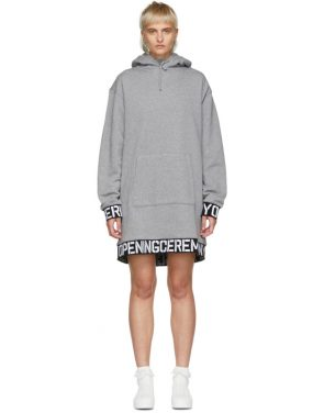 photo Grey Elastic Logo Unisex Hoodie Dress by Opening Ceremony - Image 1