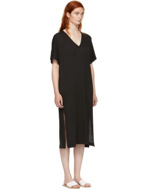 photo Black Boxy V-Neck Dress by Raquel Allegra - Image 2