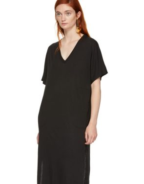 photo Black Boxy V-Neck Dress by Raquel Allegra - Image 4