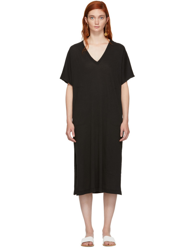 photo Black Boxy V-Neck Dress by Raquel Allegra - Image 1
