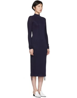 photo Navy Turtleneck Ruched Sides Dress by Carven - Image 2
