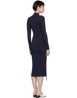 photo Navy Turtleneck Ruched Sides Dress by Carven - Image 3