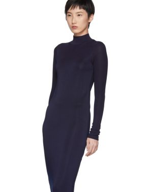 photo Navy Turtleneck Ruched Sides Dress by Carven - Image 4