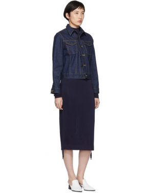 photo Navy Turtleneck Ruched Sides Dress by Carven - Image 5