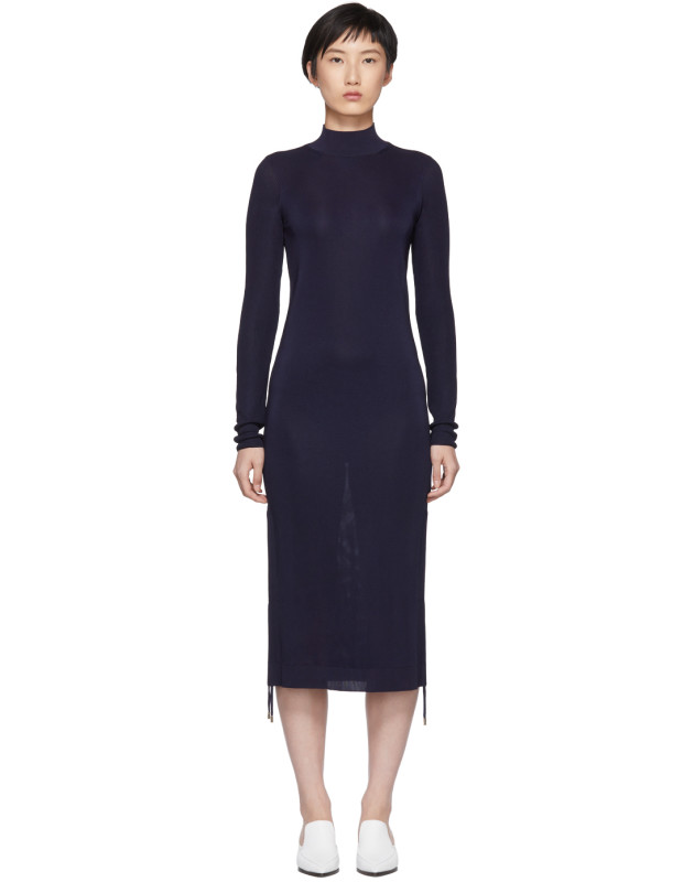 photo Navy Turtleneck Ruched Sides Dress by Carven - Image 1