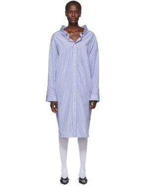 photo Blue and White Striped Swing Shirt Dress by Balenciaga - Image 1