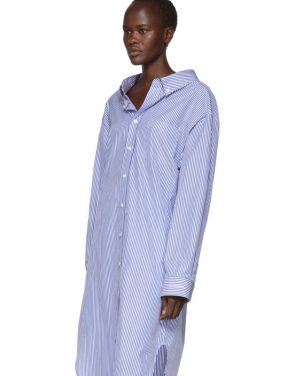 photo Blue and White Striped Swing Shirt Dress by Balenciaga - Image 4