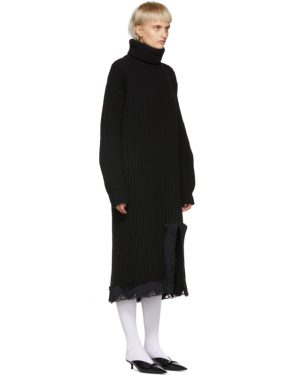 photo Navy Wool Turtleneck Dress by Balenciaga - Image 2
