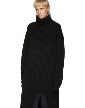 photo Navy Wool Turtleneck Dress by Balenciaga - Image 4