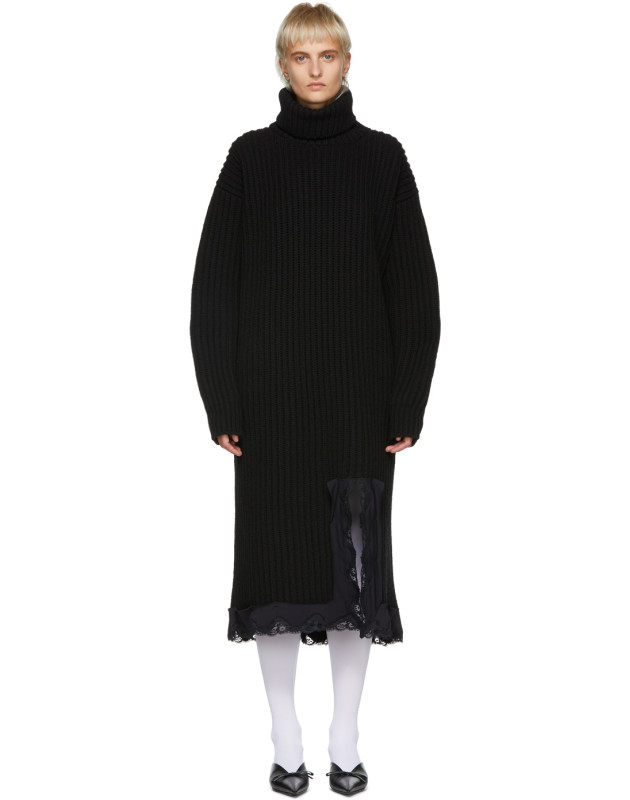 photo Navy Wool Turtleneck Dress by Balenciaga - Image 1