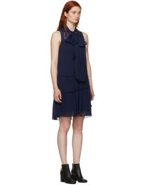 photo Navy Front Neck Tie Dress by See by Chloe - Image 2