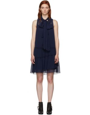 photo Navy Front Neck Tie Dress by See by Chloe - Image 1
