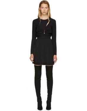 photo Black Slit Pleated Dress by Versus - Image 1