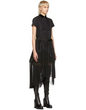 photo Black Pleated Dress by Sacai - Image 2