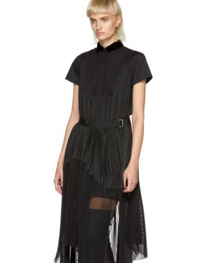 photo Black Pleated Dress by Sacai - Image 4