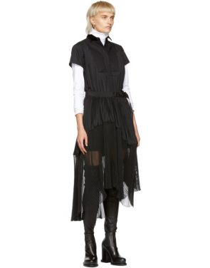 photo Black Pleated Dress by Sacai - Image 5