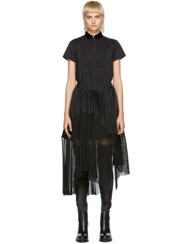 photo Black Pleated Dress by Sacai - Image 1