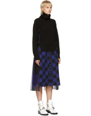 photo Black and Blue Buffalo Check Turtleneck Dress by Sacai - Image 2